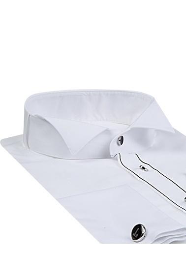 Tween Slim Fit Düz Smokin Gömlek Beyaz